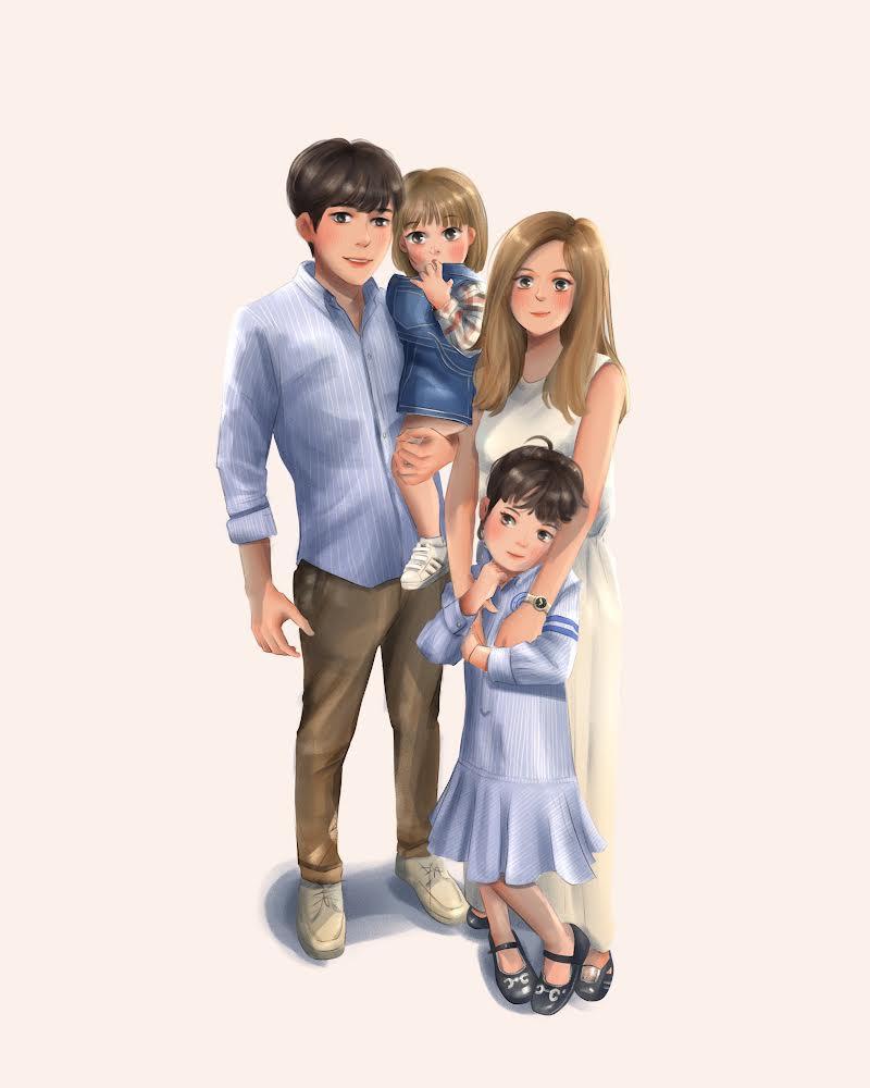 Pennello family drawing painting วาดภาพครอบครัว ของขวัญ